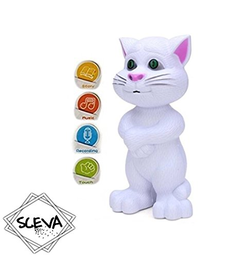 Cute White Intelligent Talking Tom Cat by Sceva with Touch Recording Story Rhymes & Songs,Intelligent Touching Tom Cat with Wonderful Voice.