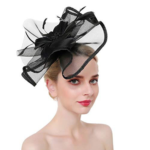 Sixcup Frauen Mädchen Blume Mesh Feder Braut Hut Feder Cocktail Hochzeit Tea Party Hat Stirnband Cocktail Hair Clip Party Retro Hochzeit Headwear (Black(4)) (Black Tea-party-hut)