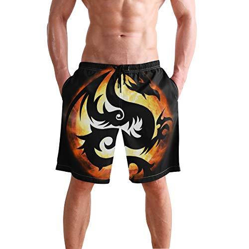 LORONA Dragon Fire Monster Creature8 - Bañador para Hombre Secado rápido Multicolor Multicolor S