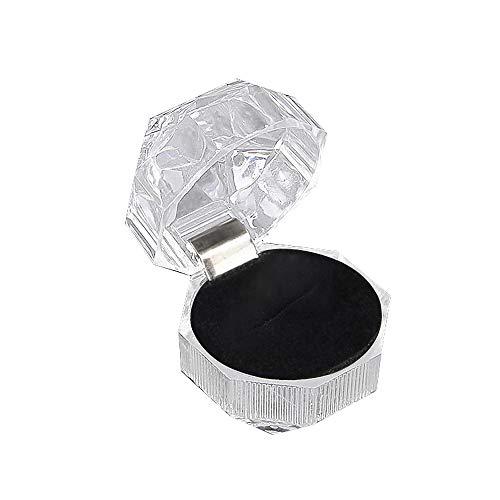 Transparente Acryl Kunststoff Ring Ohrringe Box Staubdicht Verpackung Kristall Boxschmuck Lager Box,Schwarz,3.9 * 3.9cm (Kristall-ring-box)