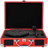 Turntable With Speakers Vintage Phonograph Record Player Stereo Sound Red EU-type