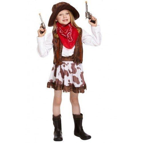 Mädchen Kinder Wilder Westen Cowgirl Sheriff Halloween Kostüm 4-12 Jahre Größe 104 - 152 - Braun, 122 - 134 (Halloween Kostüme Weste)