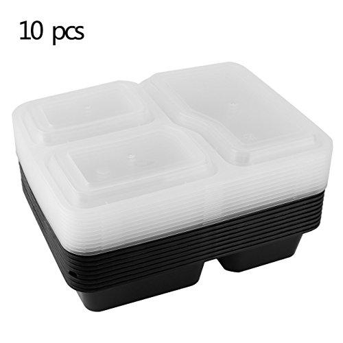 Dooret 3 scomparti contenitori per alimenti riutilizzabili con coperchio, forno a microonde e lavapiatti, scatola da pranzo, impilabile, set di 10