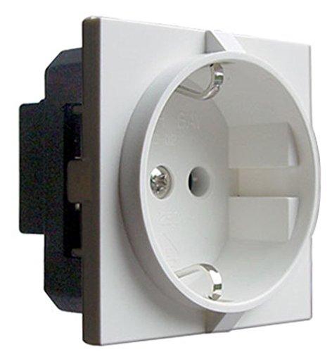 Preisvergleich Produktbild Schuko Steckdose klein DIN49440 Caravan Wohnmobil Wohnwagen Möbel Möbeleinbau schwarz oder weiss (Weiss)