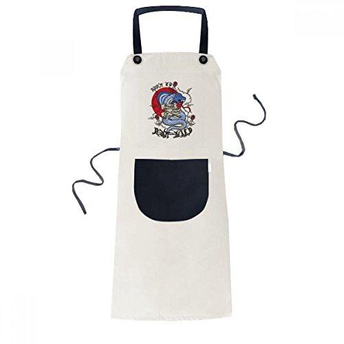 beatChong Tierbiss Schlange Kombinationsmuster Kochen Küche Beige Adjustable Latzschürze Taschen Frauen Männer Chef-Geschenk (Männer Schlange Beißt)