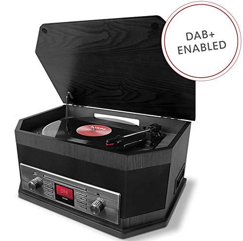 ION Audio Octave LP - Chaîne Hi-Fi 8-en-1 Style Rétro avec Bluetooth, Platine Vinyle 3 Vitesses, Lecteurs CD/Cassette, Lecture/Enregistrement USB, Entrée AUX, Radio DAB+/FM, Enceintes Intégrées-Noir