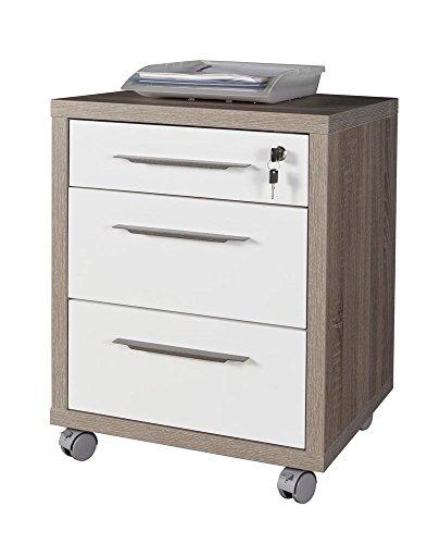 Composad cassettiera ufficio tre cassetti colore rovere tartufo e laccato bianco lucido, legno, unica