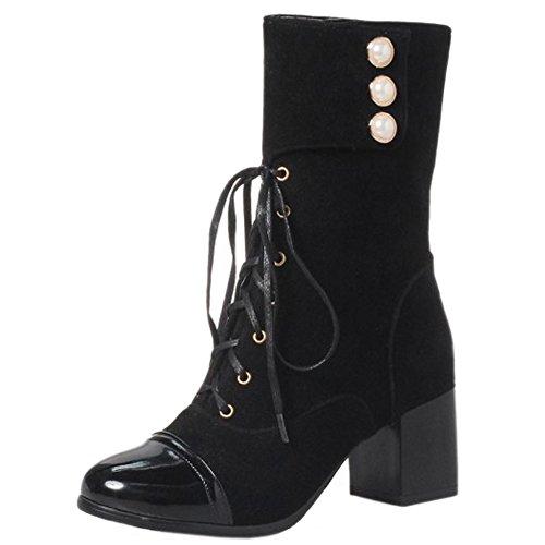 RAZAMAZA Femmes Mode Mi-Bottes Chunky Heel Bottines Martin Perles SU Black
