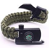 Ogquaton Premium Survival Bracelet Multifunctional Bracelet Whistle Knife Fire Starter Raspador Paraguas Cuerda Equipo para Acampar al Aire Libre Escalada al Aire Libre Supervivencia Medidas de segu
