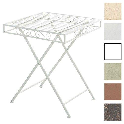 CLP Eisentisch FUNDA im Jugendstil I Robuster Gartentisch mit kunstvollen Verzierungen I Kompakter Tisch mit eckiger Tischplatte I erhältlich Weiß
