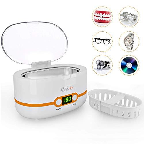 Ultraschallreiniger 600ml, TACKLIFE 50W Ultraschallreinigungsgerät, mit Digitalanzeige und 5 Zeiteinstellungen für Brillen, Schmuck, Uhren, Zahnprothesen - MUC02