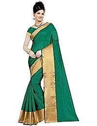 Raploch Cotton Silk Saree With Blouse Piece Material (Rama Green)