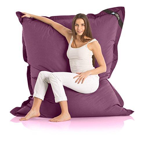 Lazy Bag Original Indoor & Outdoor Sitzsack XXL 400L Riesensitzsack Sitzkissen Sessel für Kinder & Erwachsene 180x140cm (Violett)