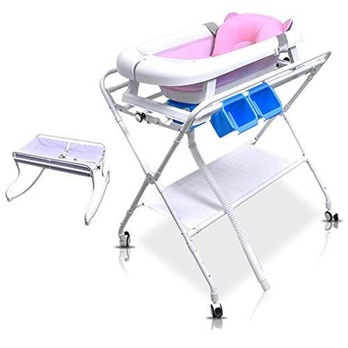 AA-SS-Changing Table Klappbarer Wickeltisch mit Badewanne | Tragbarer Badetisch für Neugeborene und Aufbewahrungsorganisator für Kommoden mit Rädern