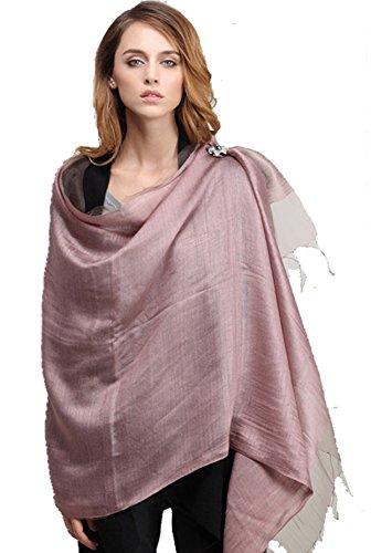 LadyMYP 200*65 cm Luxus Doppel Stola Schal aus Seide & Faden oder Seide & Baumwolle mehr Farbig (altrosa) (Farbige Schal Baumwolle Seide)