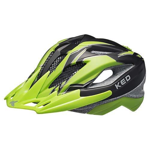 K-E-D Fahrradhelm Street Junior Pro Allround-Helm in robuster maxSHELL- Technologie, Quicksafe- und Quickstopp-System. (M (Kopfumfang 53-58 cm), Black Green Matt)