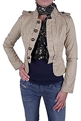 Diesel Women's Plain Long Jacket Beige Beige XX-Small