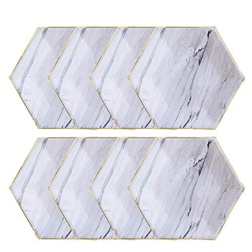Leisial 8 Stücke Einwegteller Marmor-Muster Pappteller Weihnachten Partei Pappteller 22CM