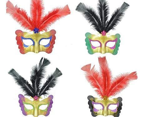DOOUYTERT Künstliche Blumen 1 Stück Kreative Painted Butterfly Feather Maske Weihnachten Venetian Masquerade Maske (Zufällige Farbe) Hochzeitssträuße