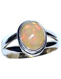 Damen-Ring handgearbeitet massives Sterling-Silber 925 Opal-Solitär (Oktober Geburtsstein) Größe J, erhältlich in den Größen J bis T