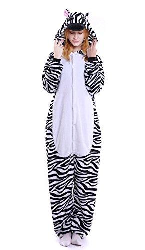 LazLake Jumpsuit Tier Fasching pyjama Kostüm Onesie Overall Schlafanzug Erwachsene Unisex Kigurumi Zebra L