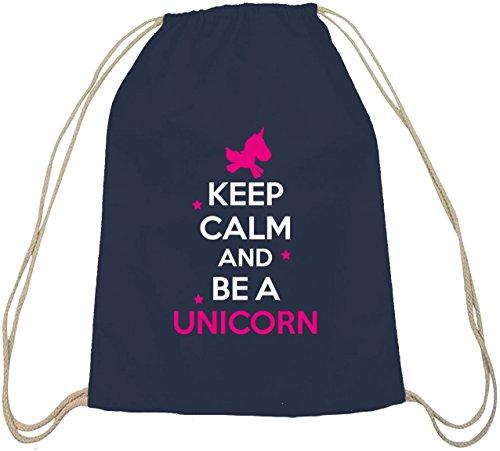 Shirtstreet24, Mantenere La Calma E Di Essere Un Cotone Unicorno Turnbeutel Naturale Borsa Sportiva Zaino Natura Blu Scuro Unicorno