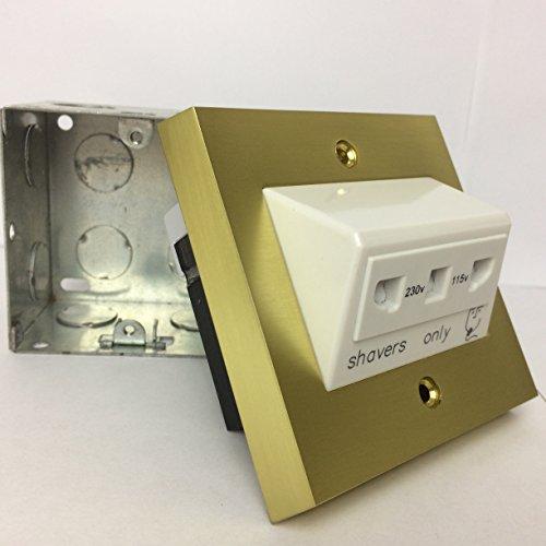 Messing Rasiersteckdose HS1Dual Spannung 115–230V 1-Gang mit Rückseite Box Badezimmer