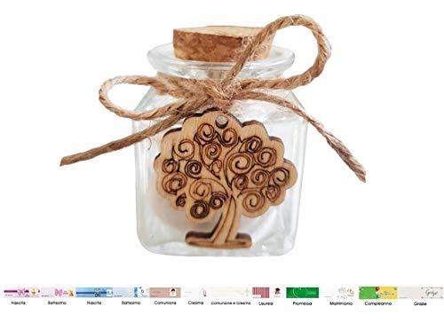 Chance irpot - 12 barattoli vetro l15154 + decorazioni in legno + 12 mt juta + bigliettini (albero della vita)