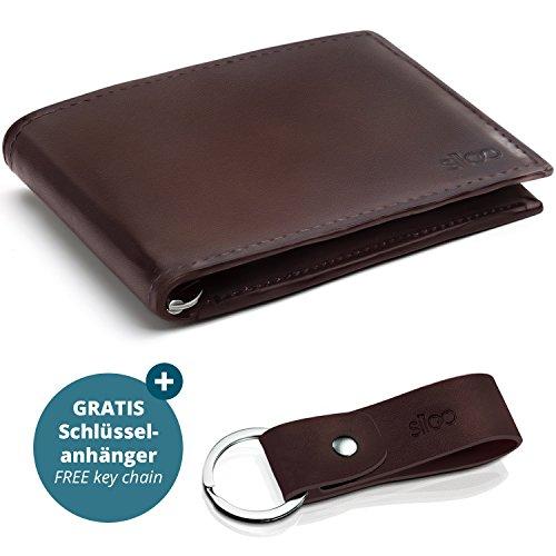 Sileo Dunkelbraunes Echtleder Portemonnaie Bill mit RFID-Schutz in edlem Glattleder-Look. Extra Flach ohne Münzfach