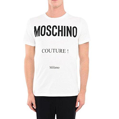 Moschino, t-shirt da uomo, bianca con stampa couture - 50