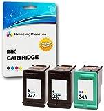 Printing Pleasure 3 Compatibili HP 337 & HP 343 Cartucce d'inchiostro Sostituzione per Photosmart 2570 2575 C4110 C4180 8049 DeskJet D4160 5940 Officejet 6300 6313 6315 - Nero/Colore, Alta Capacità