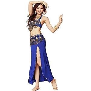 Best Dance Damen-Bauchtanz-Kostüm, professionelles 3-teiliges Set, Oberteil, Gürtel und Rock