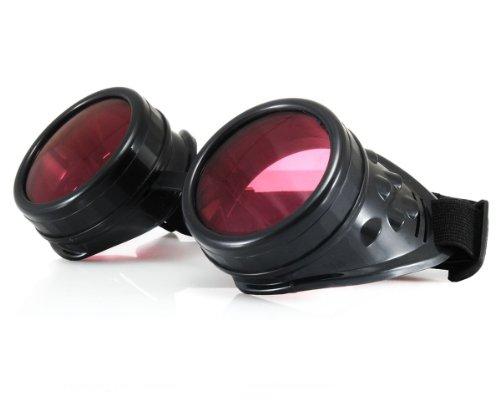 WELDING CYBER GOGGLES Schutzbrille Schweißen Goth cosplay STEAMPUNK COSPLAY GOTH ANTIQUE VICTORIAN WITH SPIKES Includes FREE set Lense Shades UV400 Protection Morefaz(TM) (Schwarz)