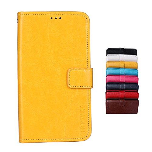 SHIEID® Handyhülle Wiko Tommy 3 Plus Hülle Brieftasche Handyhülle Tasche Leder Flip Case Brieftasche Etui Schutzhülle für Wiko Tommy 3 Plus(Gelb)