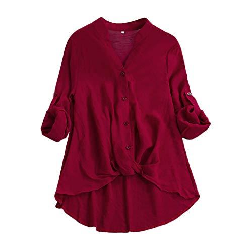 CAOQAO Damen Lässig Plus Größe Vertikal Streifen Lose Leinen Knopf Tunika Hemd Bluse (Trio Kostüme Für Frauen)