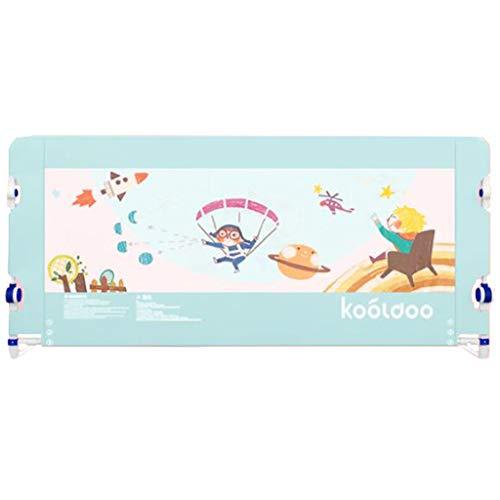 Barrera Cama- Riel de Cama Gris Extra Alto para niños pequeños, Plegable para niños Cama de bebé Barandilla Alta 80 cm (Color : Azul, Tamaño : 1.8m)