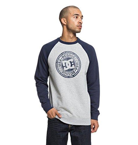 DC Shoes Herren Fleece Circle Star Crew Sweatshirt, Black iris/Grey Heather, XL Dc-fleece-sweatshirt