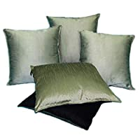 Just Linen Value Pack of 5 Polyester Dupion Reversible 16 * 16 Cushion Covers -beige And Indigo Black