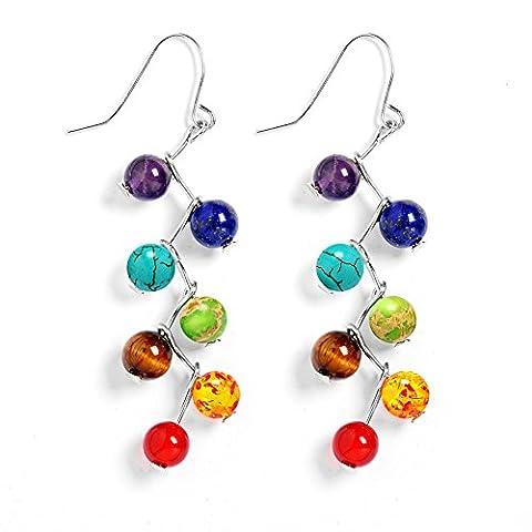 Stillshine - Chakra Yoga Balancing Round Stone Beads Elastic Natural Bead Chain , Charm Men Women Gift Box(Style 11)