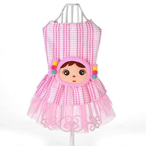PZSSXDZW Pet Kleidung Frühling und Sommer Netter Spinnrock Kleines Mädchen Kleid Hundebekleidung Kleidung für Hunde Pink Medium