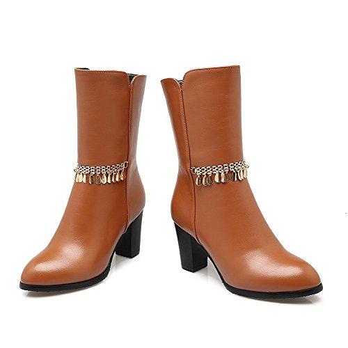 VogueZone009 Damen Hoher Absatz Rein Weiches Material Reißverschluss Stiefel mit Schnalle, Braun, 34