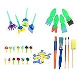 JUNERAIN 30pcs Kinder Malerei Eva Schwamm Pinsel Dichtung Zeichnen Spielzeug Kinder DIY Graffiti