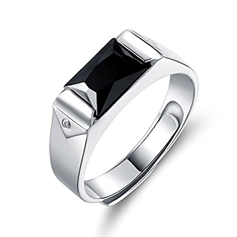 JiangXin Men's 925 Sterling Silver White Gold Plated Square Simulated Black Diamond Adjustable Size Open Finger Ring