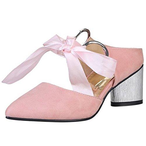 TAOFFEN Femme Mode Bout Ferme Pointue Sandales Mule Bloc Talon Moyen Ruban Rose