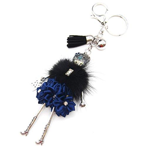 Oh My Shop PT1129E - Porte-Clés/Bijou de Sac - Poupée Articulée Femme Robe Fourrure Synthétique Noir et Fleurs Ruban Froufrous Bleu - Mode Fantaisie