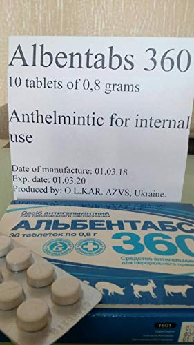 OL.Kar Albentabs albendazole 360 MG Cane Gatto sverminatore. 20 compresse, ciascuno per 10-15 kg