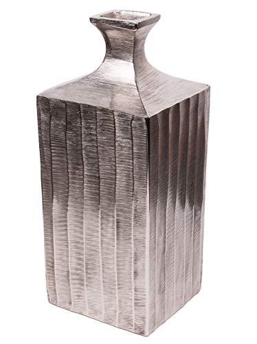 Kunstversteck Edle Metallvase Clara massiver Aluguss, Deko-Vase Farbe Silber Höhe 35cm Clara Vase