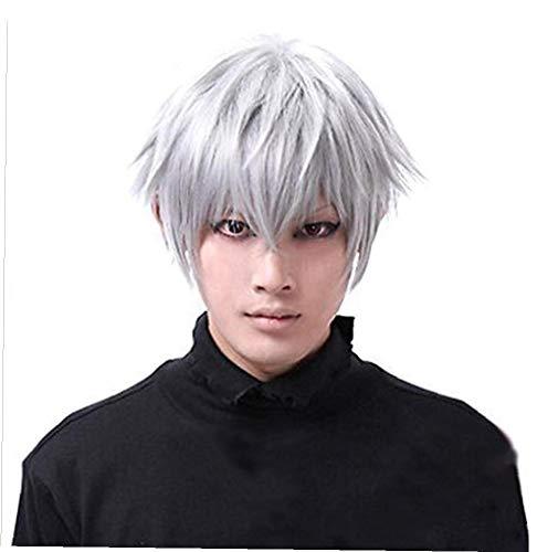 ki gerade kurze Perücke für Männer hitzebeständige synthetische Schwarz Weiß Anime Haar Halloween Kostüm Perücken ()