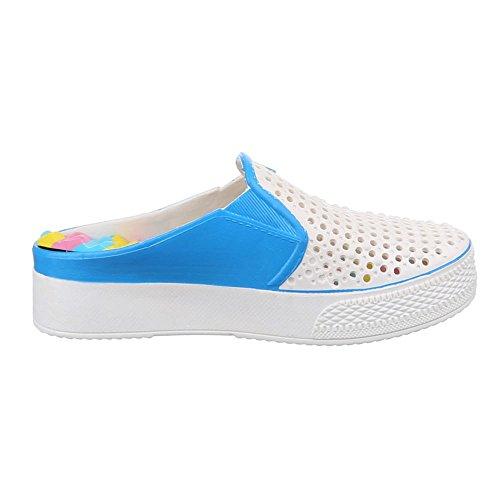 Damen Schuhe, QS-302, SANDALEN CLOGS PANTOLETTEN Weiß Blau