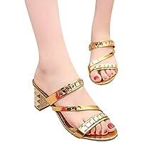 JiaMeng Sandalias cuña Hebilla Sandalias de la inclinación Moda Roma Bling Crystal High Heel Slipper Sandals Ladies.